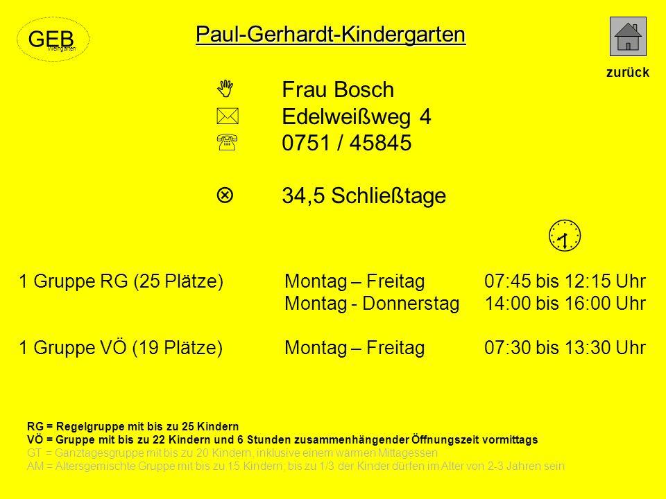  Paul-Gerhardt-Kindergarten GEB  Frau Bosch  Edelweißweg 4