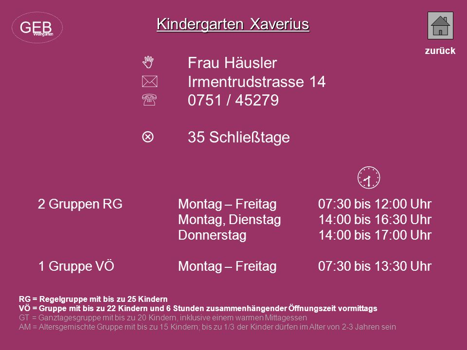  Kindergarten Xaverius GEB  Frau Häusler  Irmentrudstrasse 14