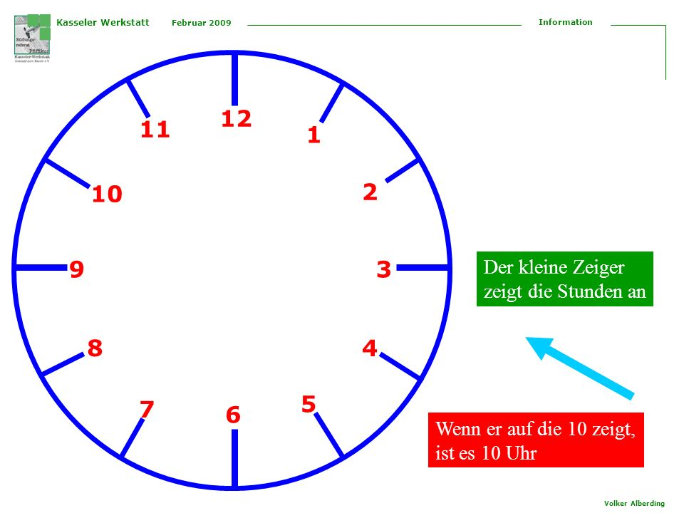 12 11 1 10 2 9 3 8 4 5 7 6 Der kleine Zeiger zeigt die Stunden an
