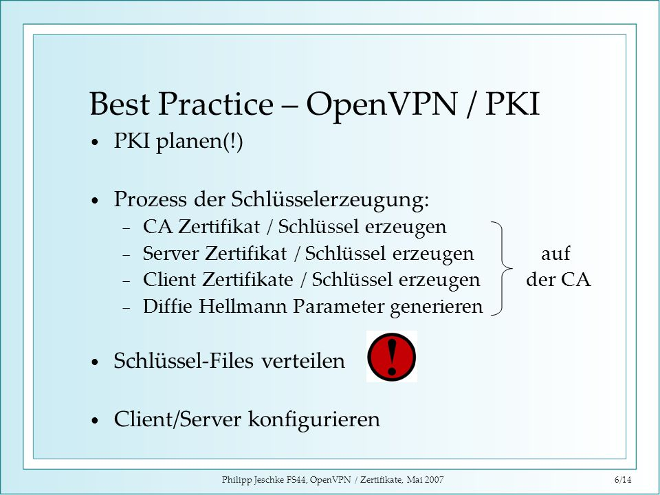 Best Practice – OpenVPN / PKI
