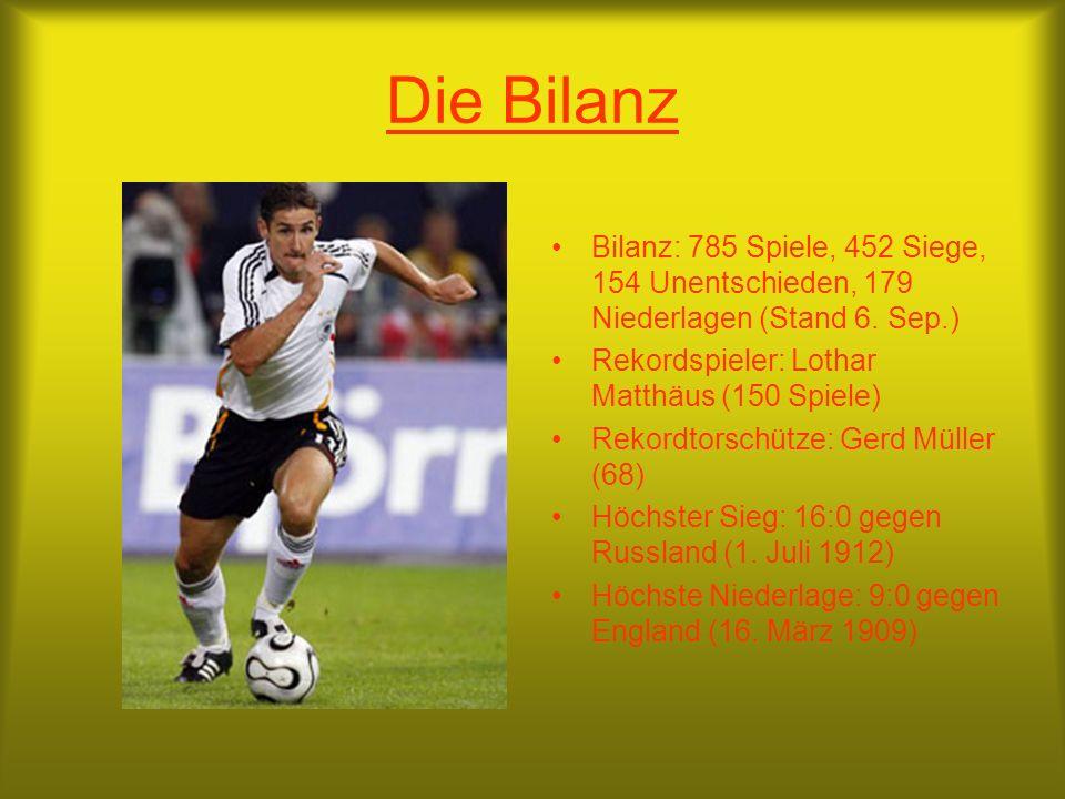 Die Bilanz Bilanz: 785 Spiele, 452 Siege, 154 Unentschieden, 179 Niederlagen (Stand 6. Sep.) Rekordspieler: Lothar Matthäus (150 Spiele)