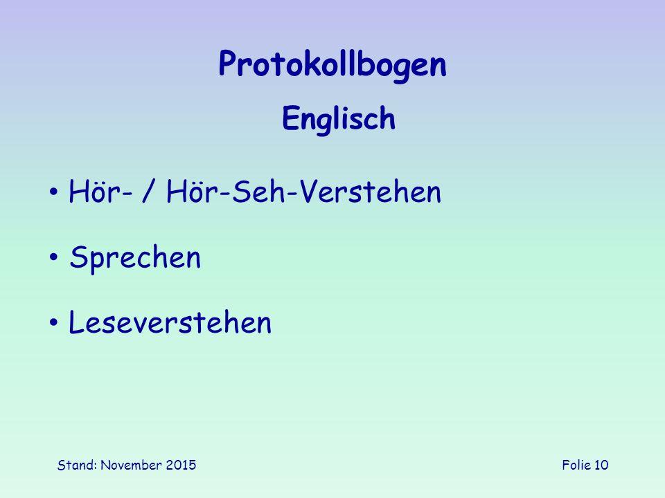 Protokollbogen Englisch Hör- / Hör-Seh-Verstehen Sprechen
