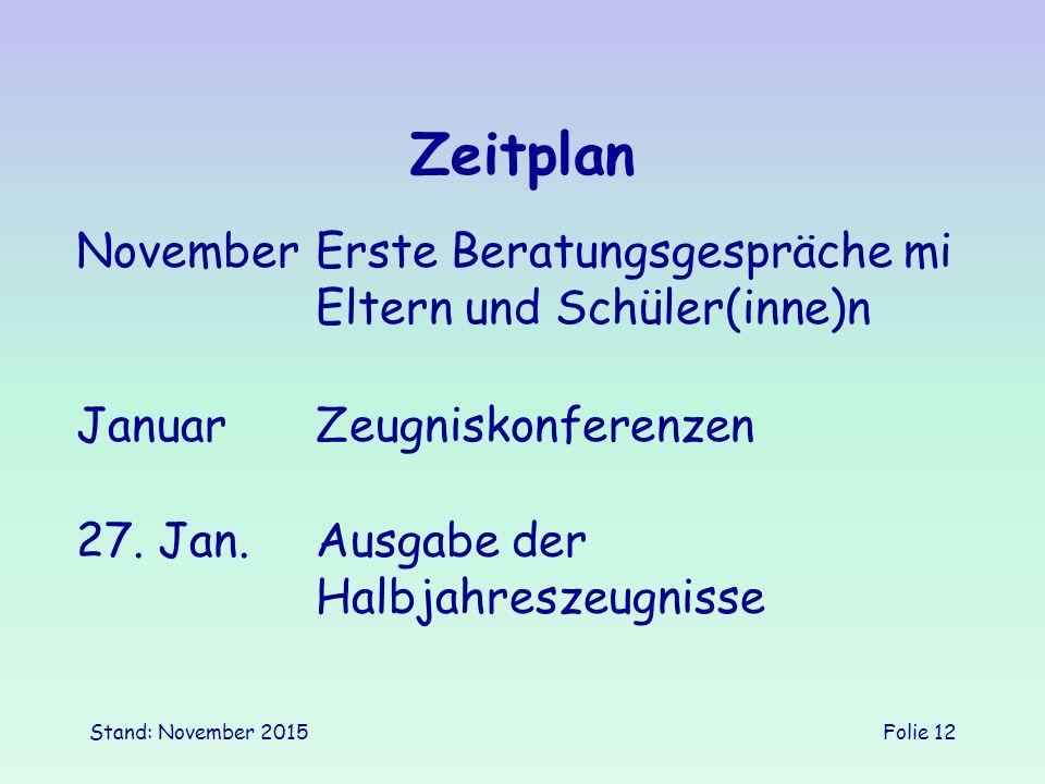 Zeitplan November Erste Beratungsgespräche mi Eltern und Schüler(inne)n. Januar Zeugniskonferenzen.