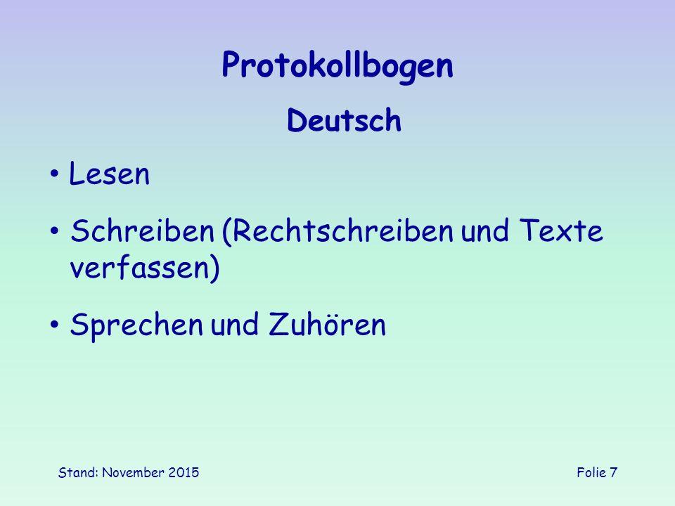 Protokollbogen Deutsch Lesen