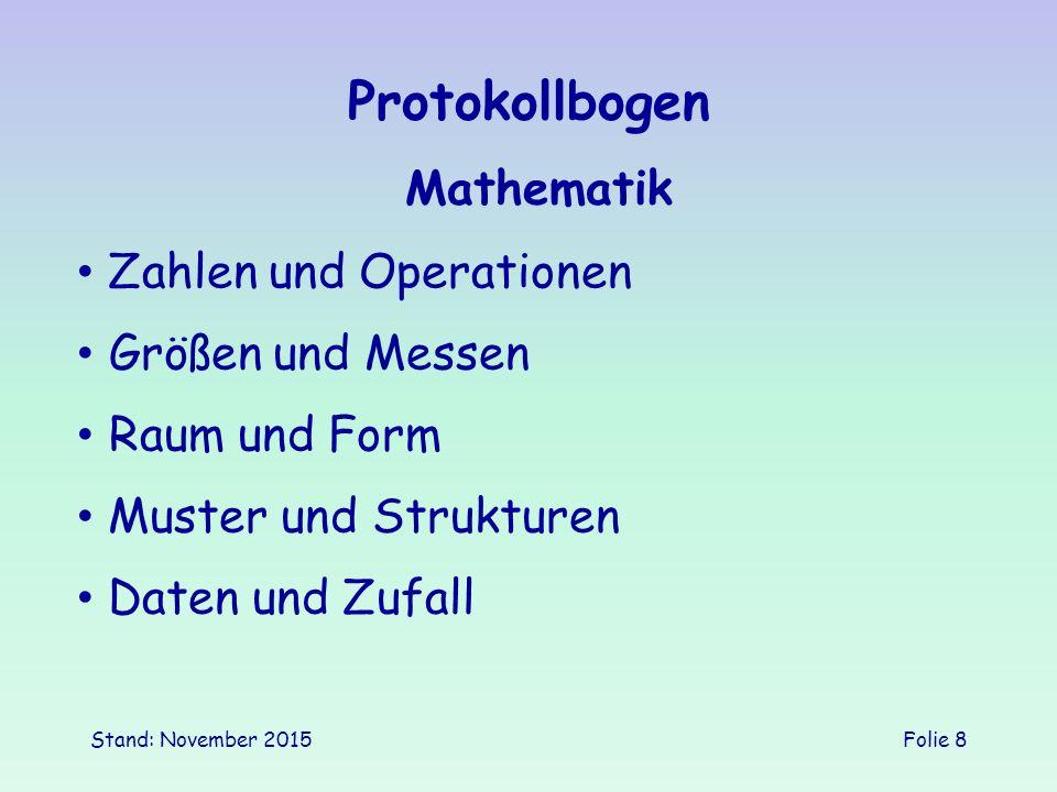 Protokollbogen Mathematik Zahlen und Operationen Größen und Messen
