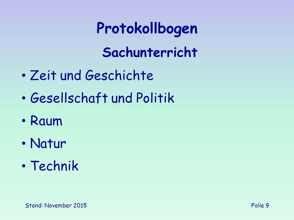 Protokollbogen Sachunterricht Zeit und Geschichte