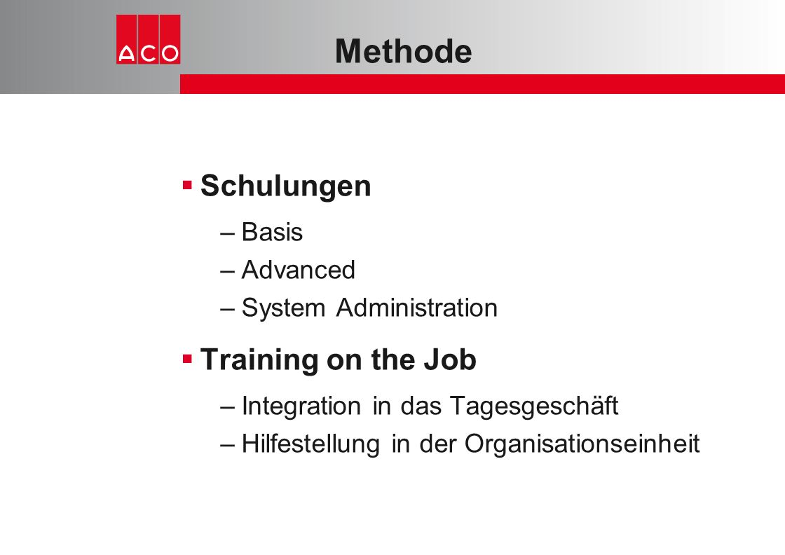 Methode Schulungen Training on the Job Basis Advanced