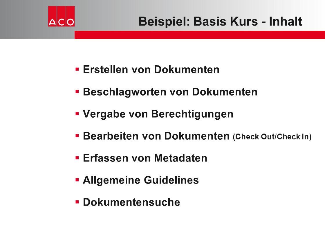 Beispiel: Basis Kurs - Inhalt