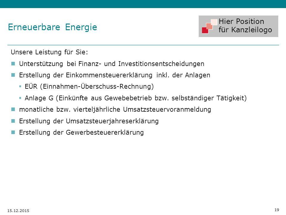 Erneuerbare Energie Unsere Leistung für Sie: