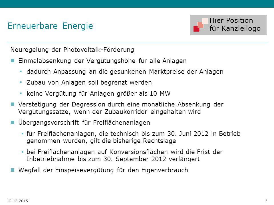 Erneuerbare Energie Neuregelung der Photovoltaik-Förderung