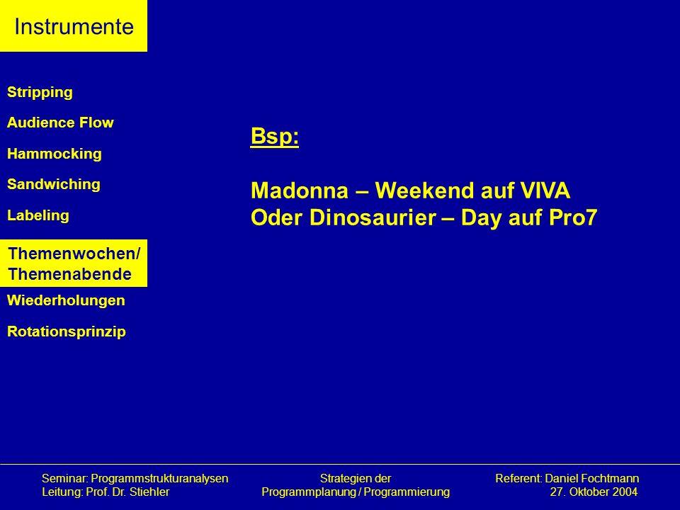 Madonna – Weekend auf VIVA Oder Dinosaurier – Day auf Pro7