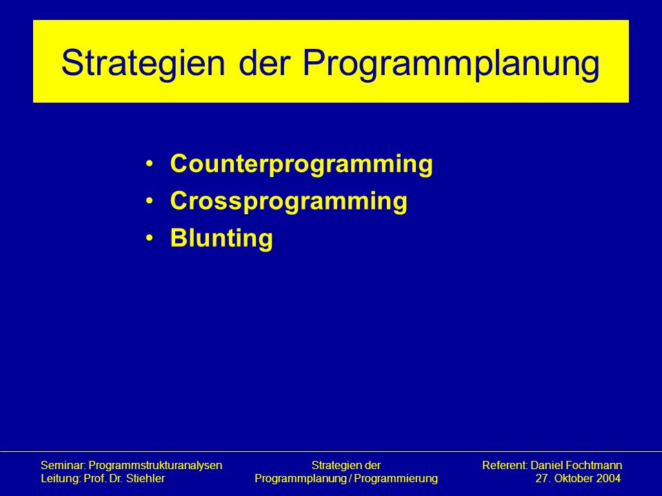 Strategien der Programmplanung