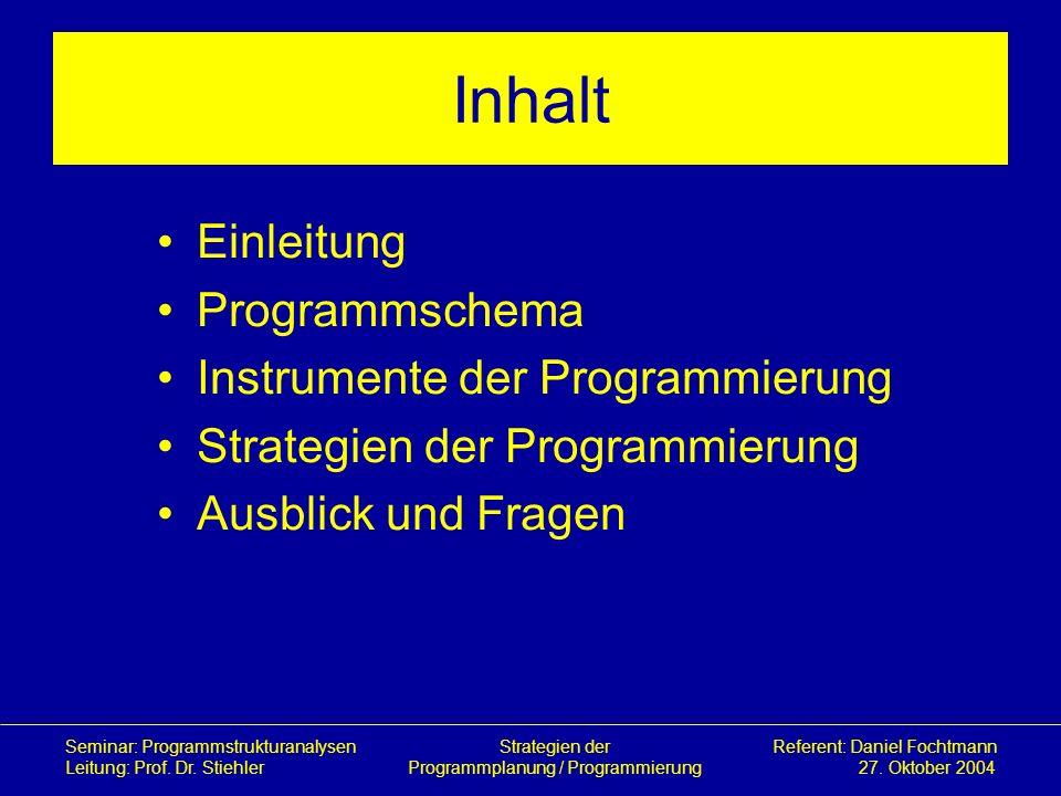 Inhalt Einleitung Programmschema Instrumente der Programmierung