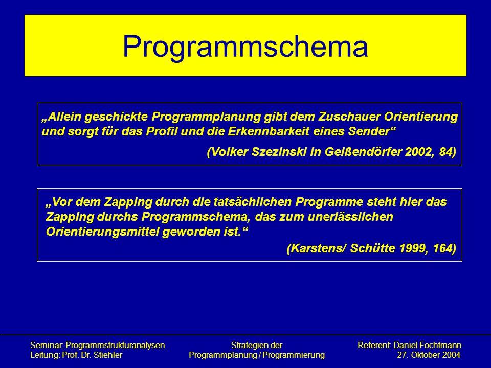 """Programmschema""""Allein geschickte Programmplanung gibt dem Zuschauer Orientierung. und sorgt für das Profil und die Erkennbarkeit eines Sender"""