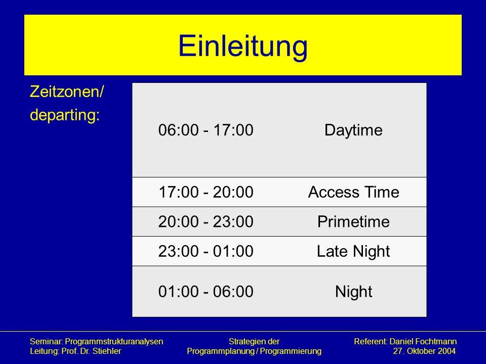 Einleitung Zeitzonen/ departing: 06:00 - 17:00 Daytime 17:00 - 20:00
