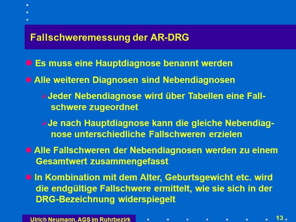 Neue Definition der Hauptdiagnose analog Australien