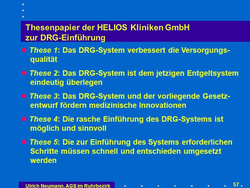 Thesenpapier der HELIOS Kliniken GmbH zur DRG-Einführung