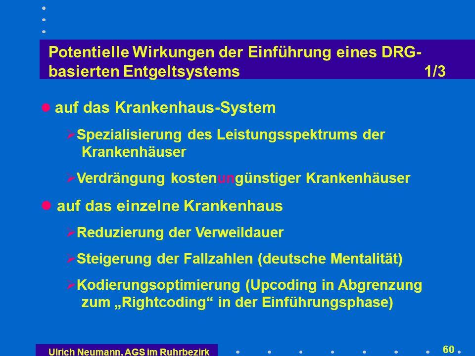 Potentielle Wirkungen der Einführung eines DRG- basierten Entgeltsystems 2/3