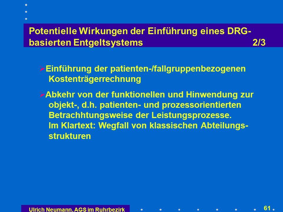 Potentielle Wirkungen der Einführung eines DRG- basierten Entgeltsystems 3/3