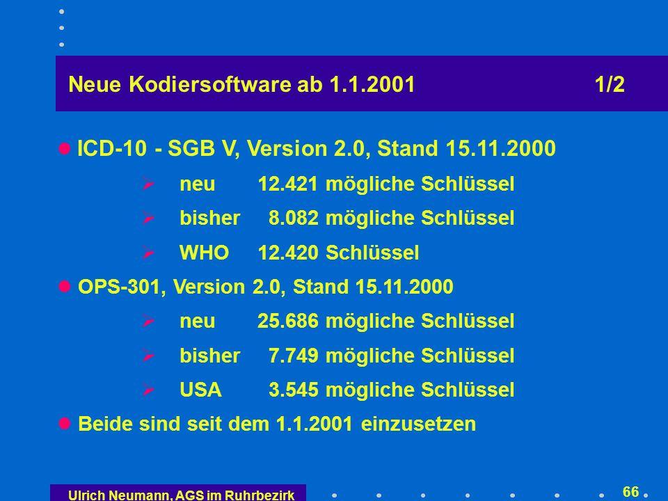 Neue Kodiersoftware ab 1.1.2001 2/2