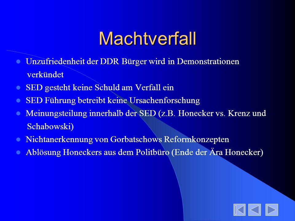 Machtverfall Unzufriedenheit der DDR Bürger wird in Demonstrationen