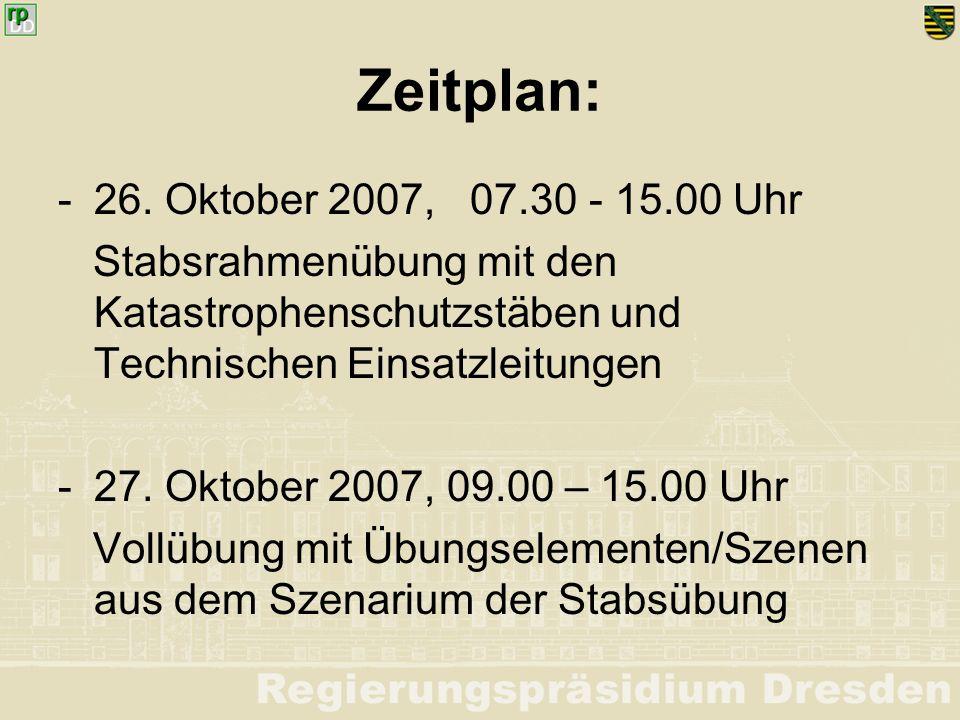 Zeitplan: - 26. Oktober 2007, 07.30 - 15.00 Uhr