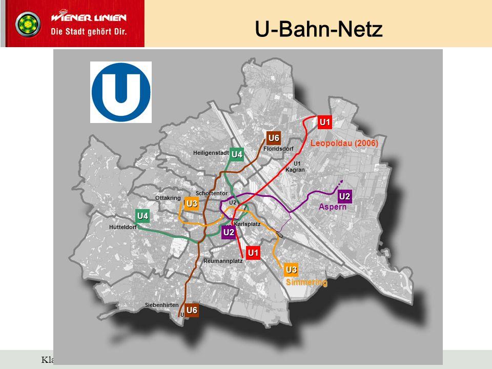 U-Bahn-Netz U1 Leopoldau (2006) U2 Aspern U3 Simmering Floridsdorf
