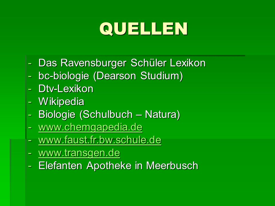 QUELLEN Das Ravensburger Schüler Lexikon bc-biologie (Dearson Studium)