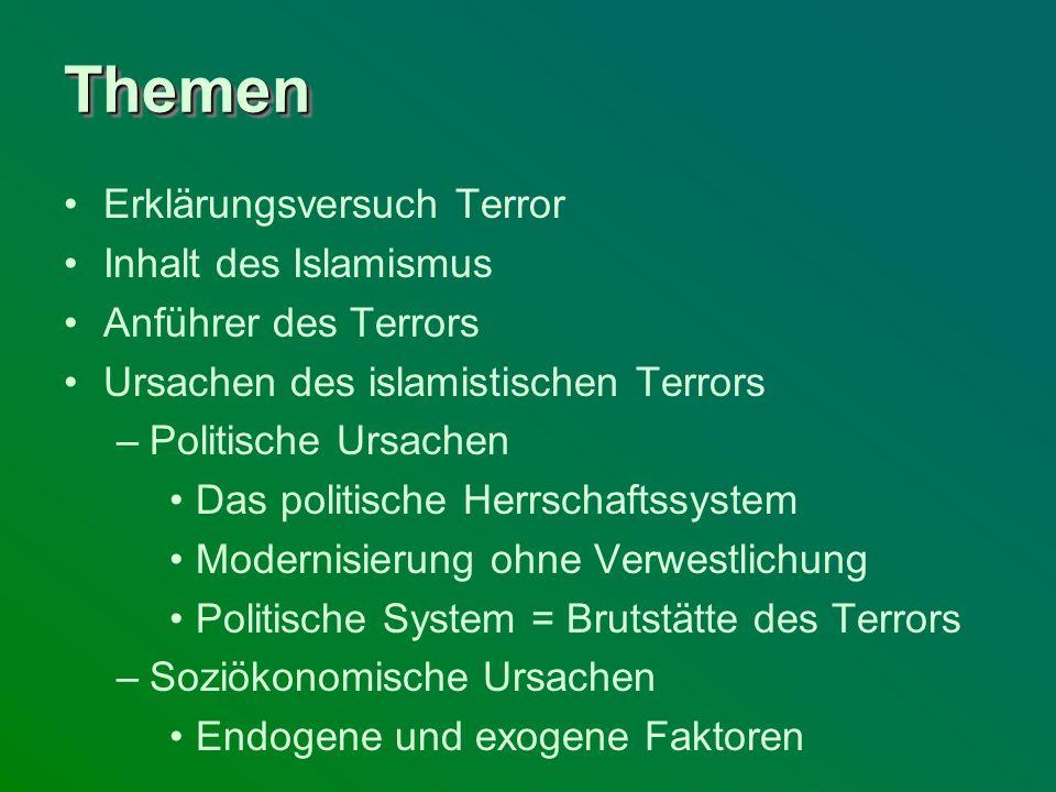Themen Erklärungsversuch Terror Inhalt des Islamismus