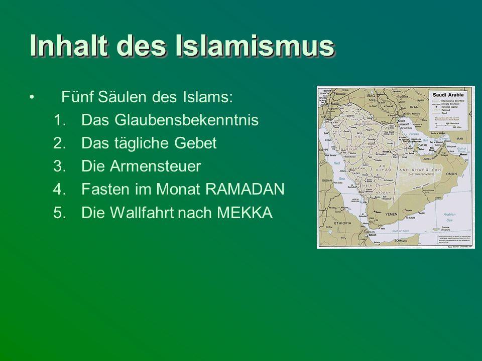 Inhalt des Islamismus Fünf Säulen des Islams: Das Glaubensbekenntnis