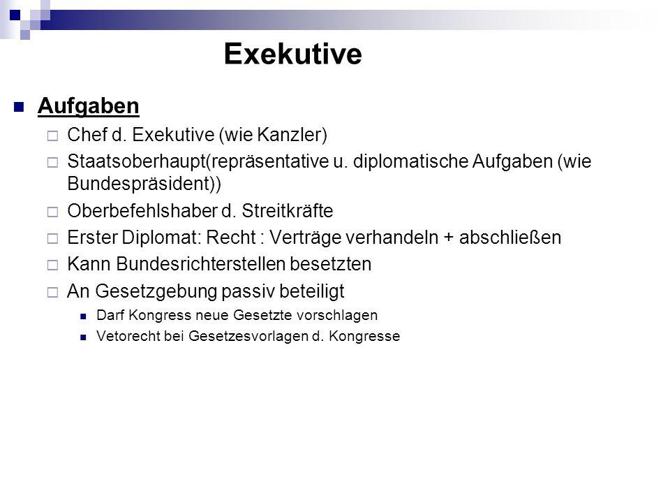 Exekutive Aufgaben Chef d. Exekutive (wie Kanzler)