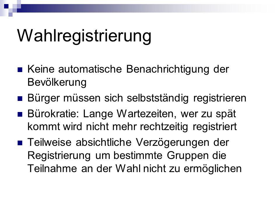 Wahlregistrierung Keine automatische Benachrichtigung der Bevölkerung