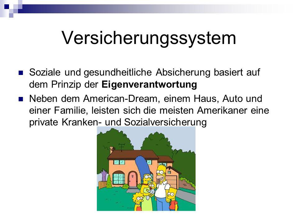 Versicherungssystem Soziale und gesundheitliche Absicherung basiert auf dem Prinzip der Eigenverantwortung.
