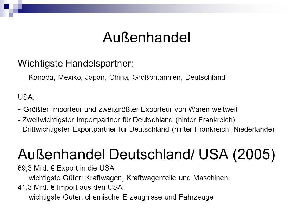 Außenhandel Deutschland/ USA (2005)