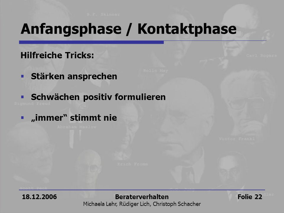 Anfangsphase / Kontaktphase