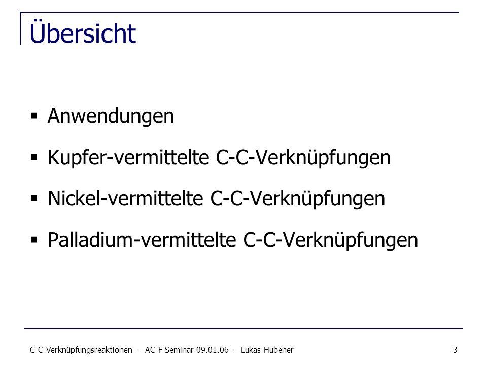 Übersicht Anwendungen Kupfer-vermittelte C-C-Verknüpfungen