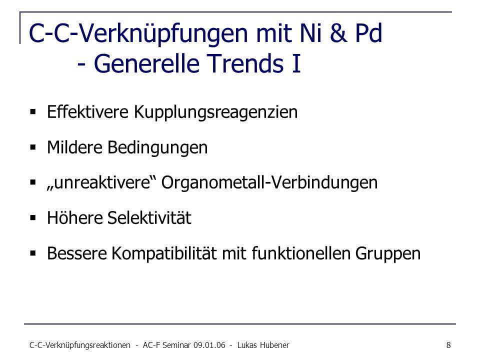 C-C-Verknüpfungen mit Ni & Pd - Generelle Trends I