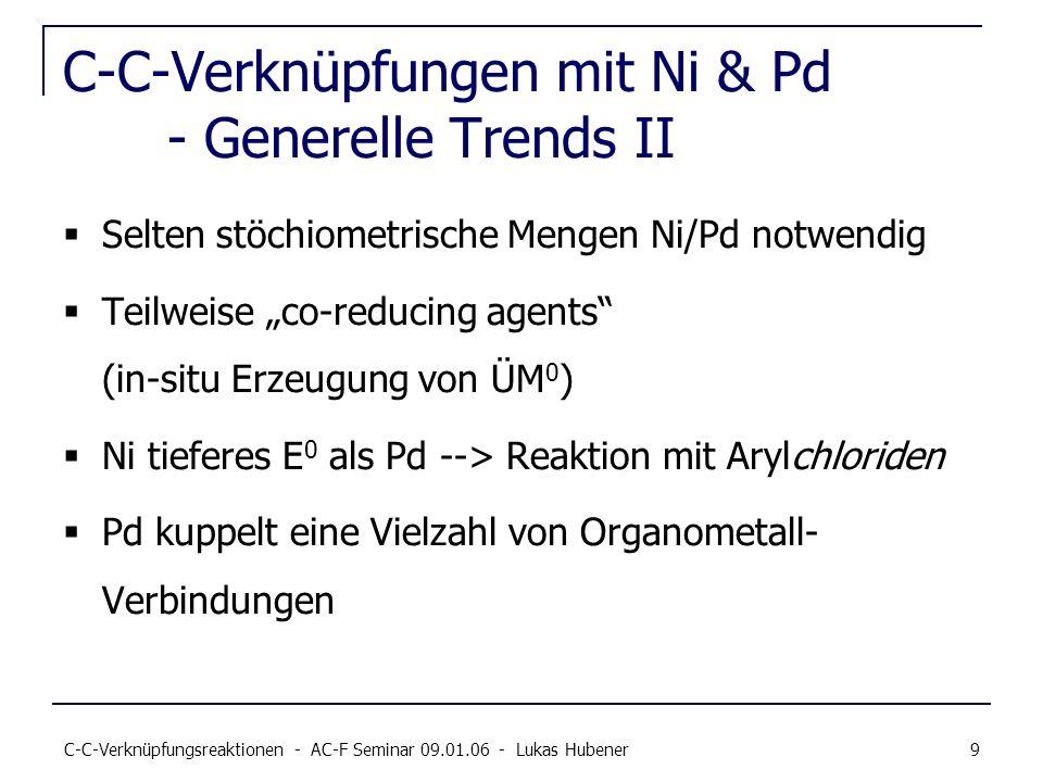 C-C-Verknüpfungen mit Ni & Pd - Generelle Trends II