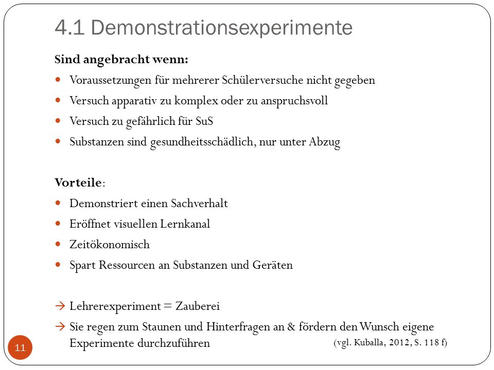 4.1 Demonstrationsexperimente