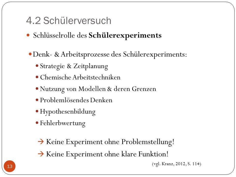 4.2 Schülerversuch Schlüsselrolle des Schülerexperiments