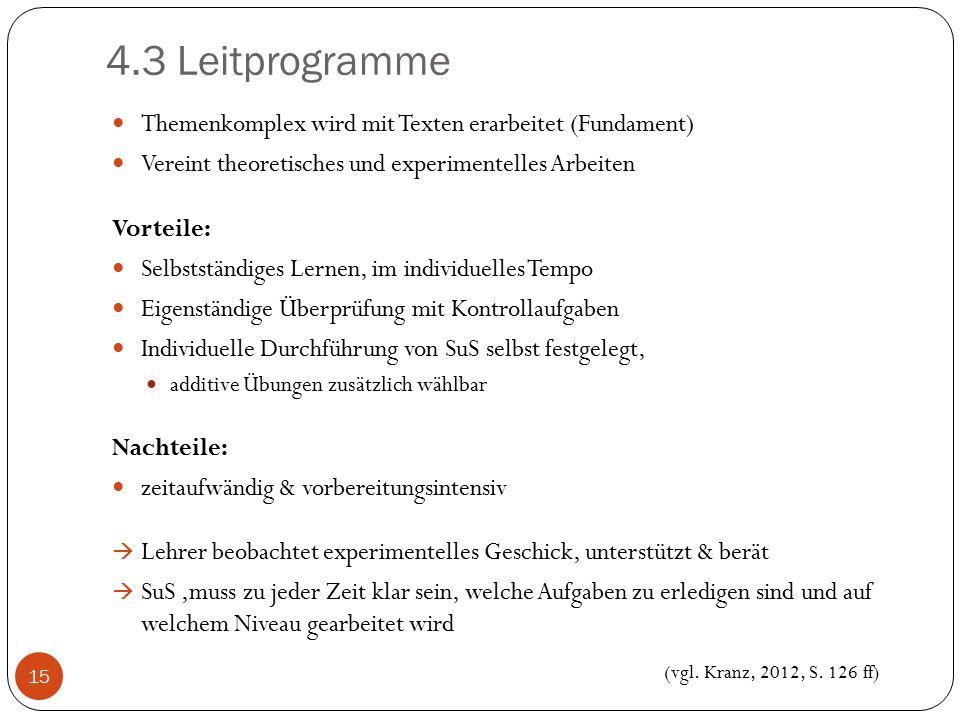 4.3 Leitprogramme Themenkomplex wird mit Texten erarbeitet (Fundament)