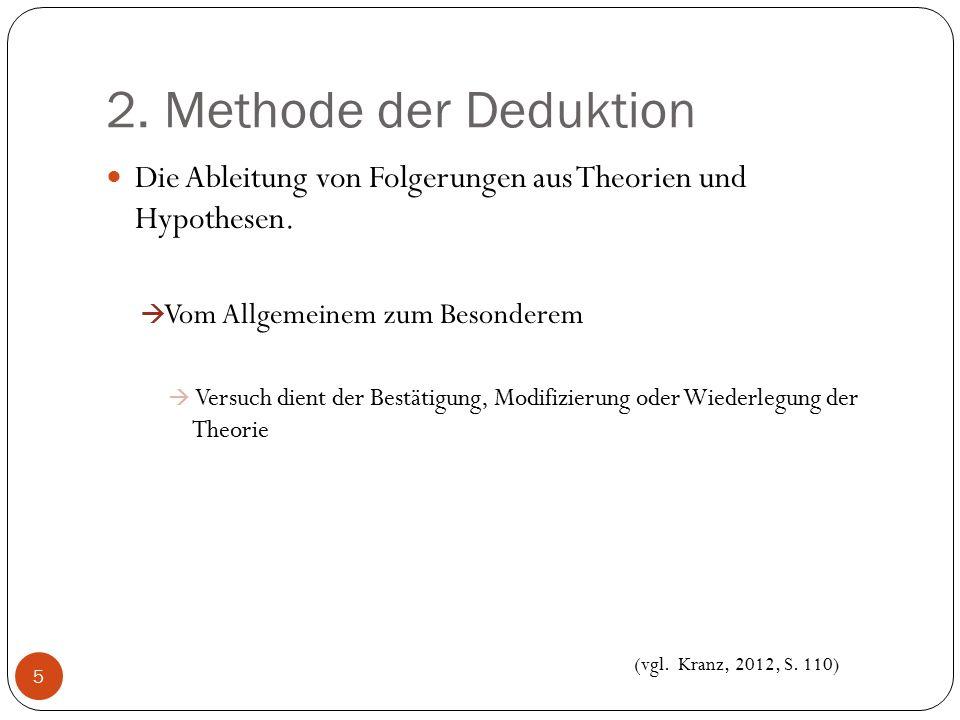 2. Methode der Deduktion Die Ableitung von Folgerungen aus Theorien und Hypothesen. Vom Allgemeinem zum Besonderem.