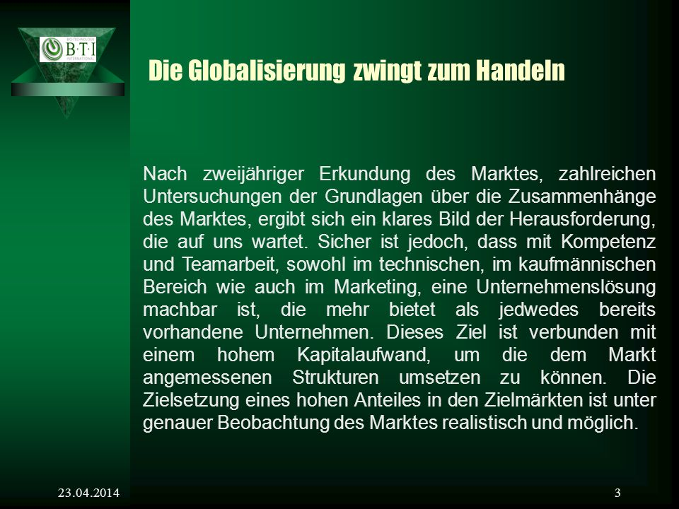 Die Globalisierung zwingt zum Handeln