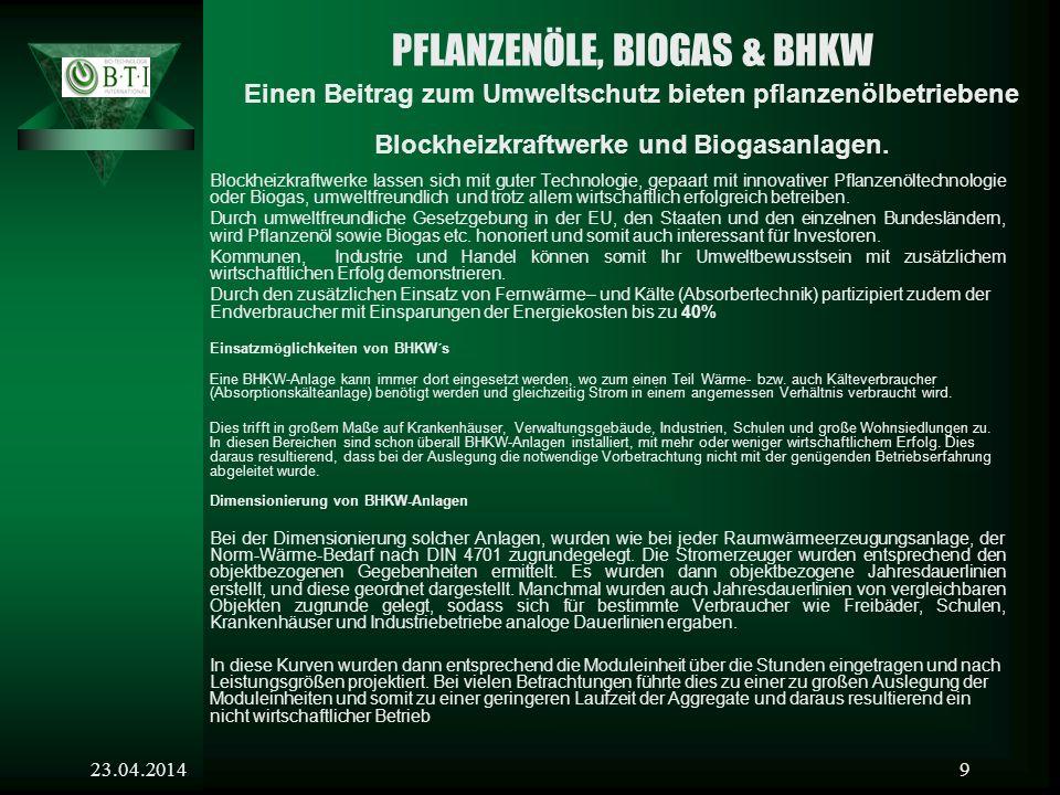 PFLANZENÖLE, BIOGAS & BHKW Einen Beitrag zum Umweltschutz bieten pflanzenölbetriebene Blockheizkraftwerke und Biogasanlagen.