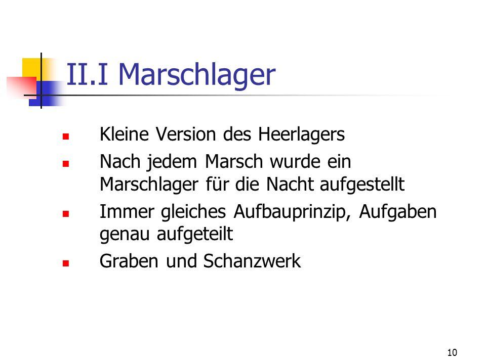 II.I Marschlager Kleine Version des Heerlagers