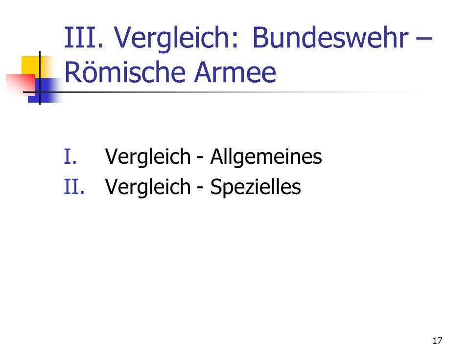 III. Vergleich: Bundeswehr – Römische Armee