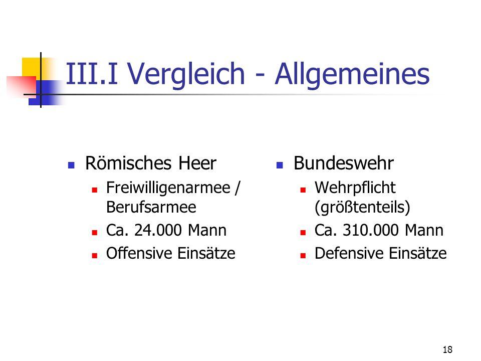 III.I Vergleich - Allgemeines