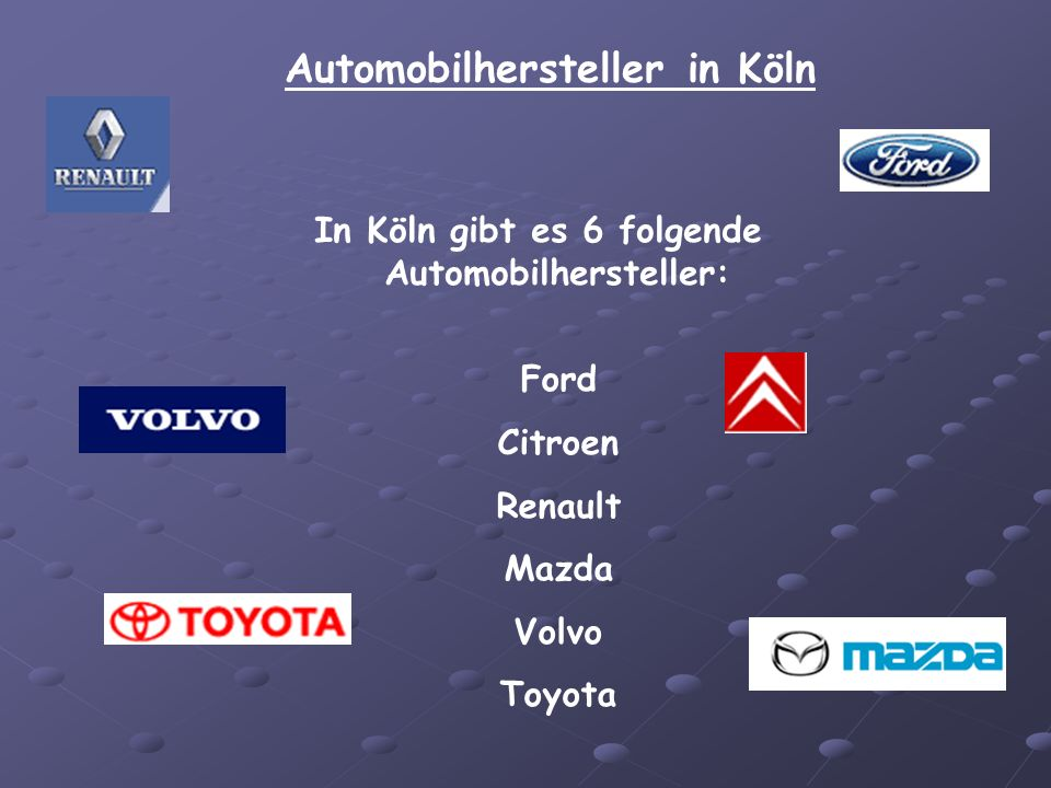 Automobilhersteller in Köln
