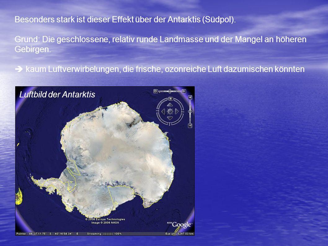 Besonders stark ist dieser Effekt über der Antarktis (Südpol).