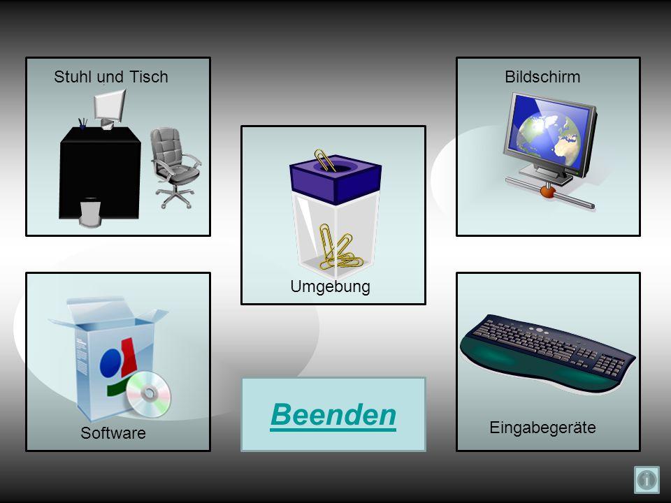 Stuhl und Tisch Bildschirm Umgebung Beenden Eingabegeräte Software
